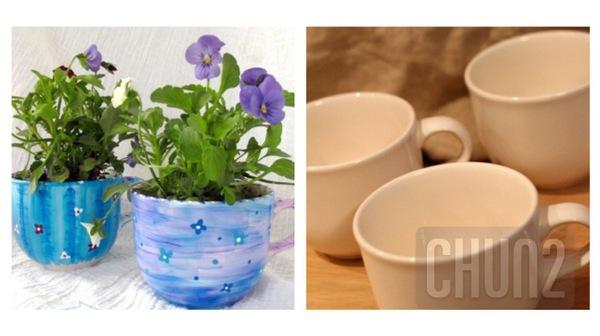 รูป 1 ไอเดียทำกระถางดอกไม้เล็กๆ จากแก้วกาแฟ