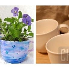 ไอเดียทำกระถางดอกไม้เล็กๆ จากแก้วกาแฟ