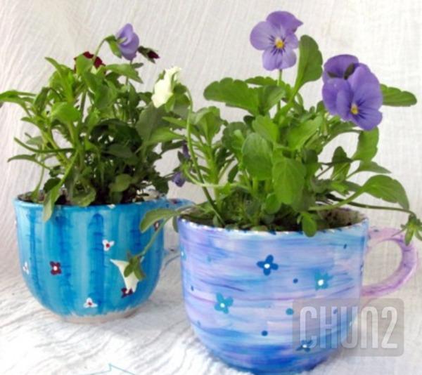 รูป 4 ไอเดียทำกระถางดอกไม้เล็กๆ จากแก้วกาแฟ