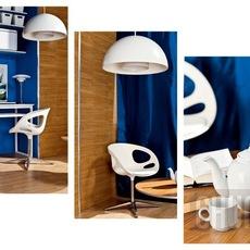ออกแบบโซนนั่งทำงานที่บ้าน สีน้ำเงิน ขาว