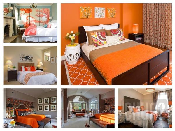 รูป 1 ห้องนอนสีส้ม สีโอรส