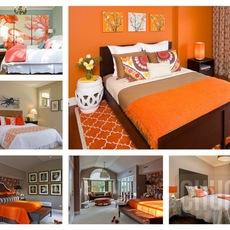 ห้องนอนสีส้ม สีโอรส