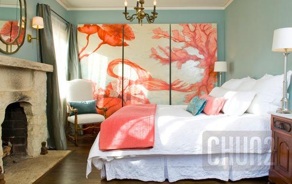 รูป 2 ห้องนอนสีส้ม สีโอรส