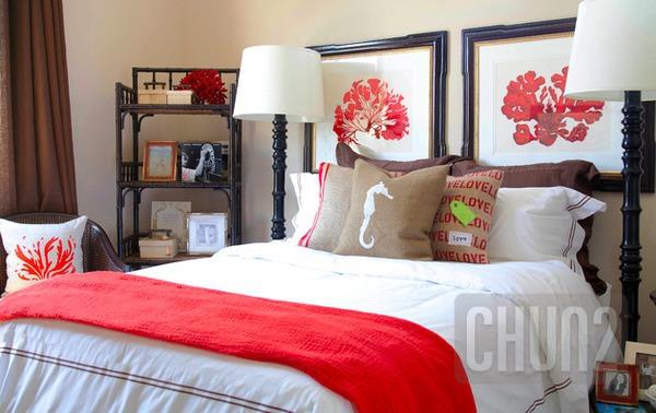 รูป 3 ห้องนอนสีส้ม สีโอรส
