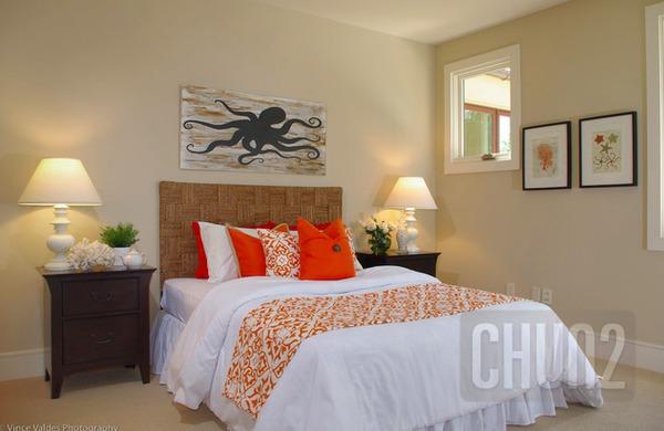 รูป 4 ห้องนอนสีส้ม สีโอรส