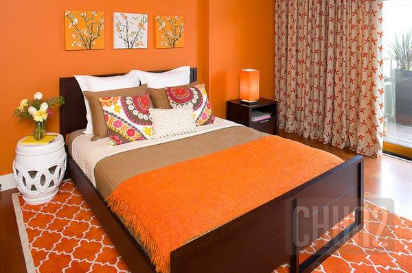 รูป 5 ห้องนอนสีส้ม สีโอรส