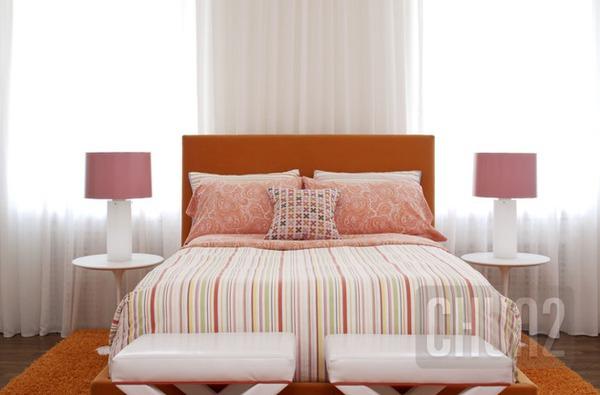 รูป 6 ห้องนอนสีส้ม สีโอรส