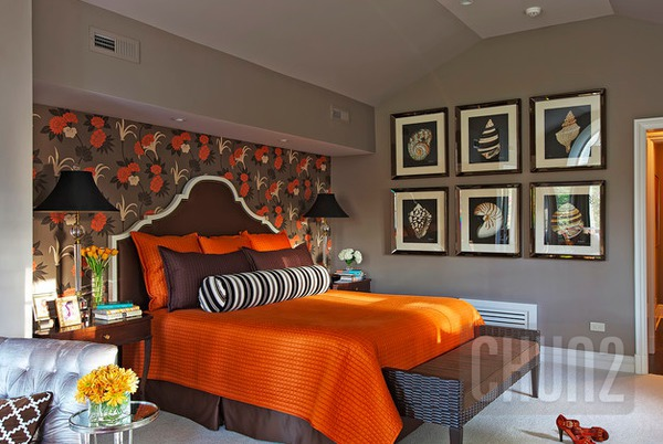 รูป 7 ห้องนอนสีส้ม สีโอรส