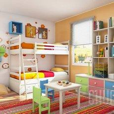 ห้องนอนเด็ก 2 คน แบบเตียงสองชั้น