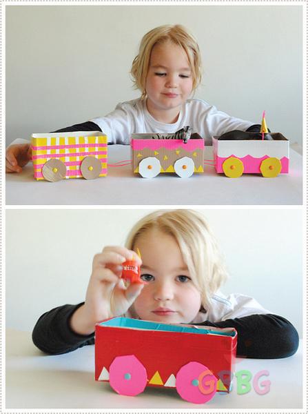 รูป 3 ทำของเล่นให้ลูก รถไฟจากกล่องเก่าๆ