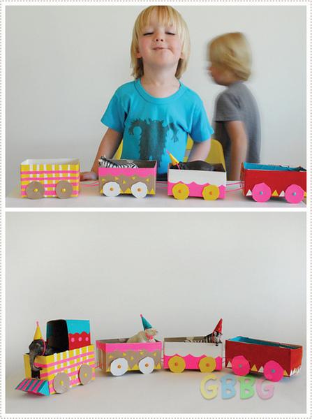 รูป 4 ทำของเล่นให้ลูก รถไฟจากกล่องเก่าๆ