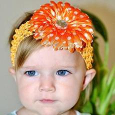 ผ้าคาดผมเด็กผู้หญิง ลายดอกสีส้มสด