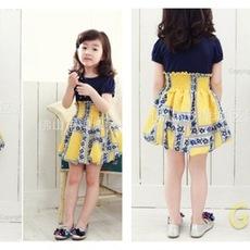 ชุดเดรสเด็กผู้หญิง เสื้อสีน้ำเงิน กระโปรงสีเหลือง
