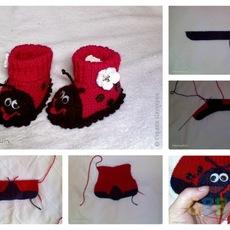 รองเท้าเด็กเล็ก แมลงเต่าทองสีแดง-ดำ