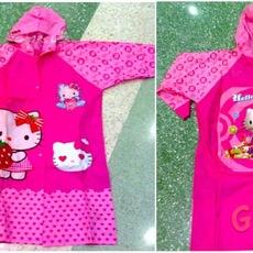 เสื้อกันฝนลายคิตตี้ สีชมพู สำหรับเด็ก