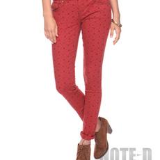 กางเกงยีนส์สกินนี่ สีแดงพิมพ์ลายดอก