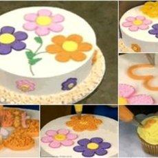 สอนตกแต่งรูปดอกไม้ หน้าขนมเค้ก