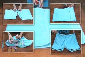 สอนเย็บกางเกงขาสั้น จากผ้าขนหนูผืนเก่า