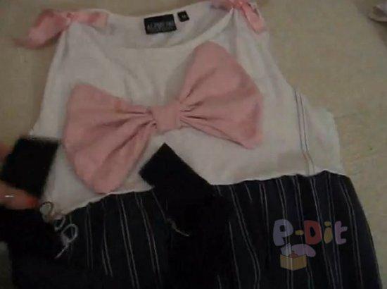 รูป 4 สอนทำชุดเดรส จากเสื้อยืด + กระโปรง