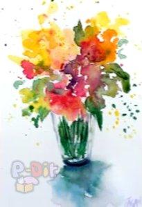 สอนวาดรูป ดอกไม้ในแจกัน โดยใช้พู่กัน