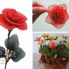 วิธีทำดอกไม้จากผ้าใยบัว