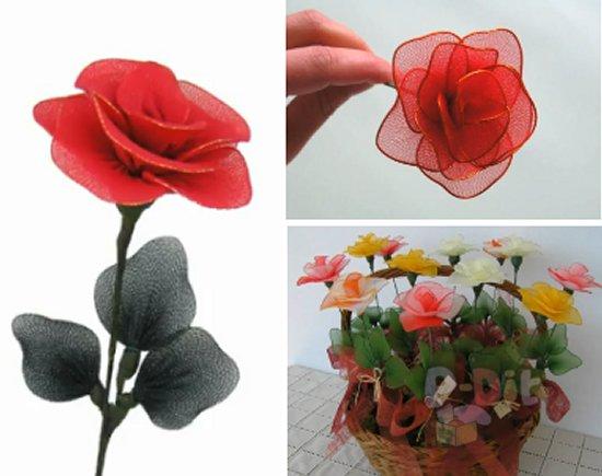 รูป 1 วิธีทำดอกไม้จากผ้าใยบัว