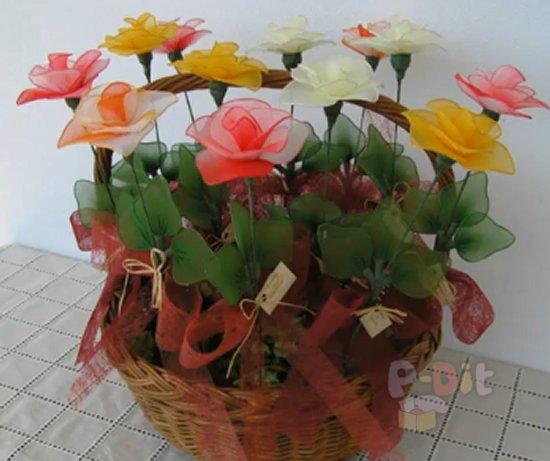 รูป 4 วิธีทำดอกไม้จากผ้าใยบัว