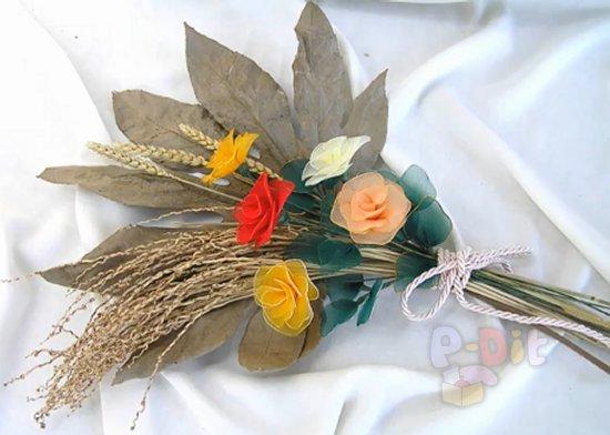 รูป 5 วิธีทำดอกไม้จากผ้าใยบัว