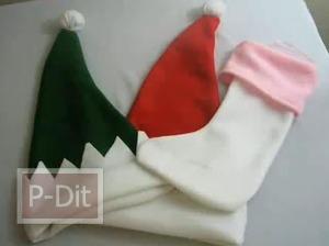 สอนทำหมวกซานตาครอส ทำถุงเท้า สำหรับขอของขวัญ