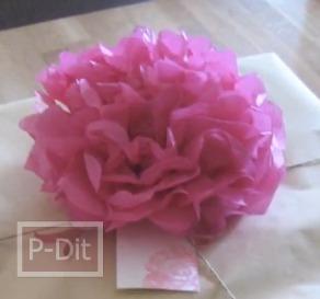 สอนทำดอกไม้กระดาษ สำหรับห่อของขวัญ ช่อดอกไม้