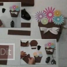 วิธีทำกล่องของขวัญ น่ารักๆ กระถางดอกไม้กระดาษ