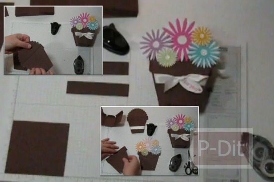 รูป 1 วิธีทำกล่องของขวัญ น่ารักๆ กระถางดอกไม้กระดาษ