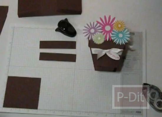 รูป 2 วิธีทำกล่องของขวัญ น่ารักๆ กระถางดอกไม้กระดาษ