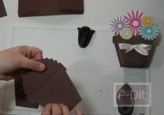 รูป 3 วิธีทำกล่องของขวัญ น่ารักๆ กระถางดอกไม้กระดาษ