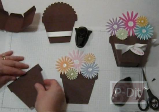 รูป 4 วิธีทำกล่องของขวัญ น่ารักๆ กระถางดอกไม้กระดาษ