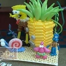 ดัดลูกโป่งเป็นรูป SpongeBob กับเพื่อนๆ
