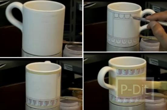 รูป 1 ไอเดียวาดลวดลายแก้วกาแฟ