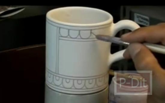 รูป 2 ไอเดียวาดลวดลายแก้วกาแฟ