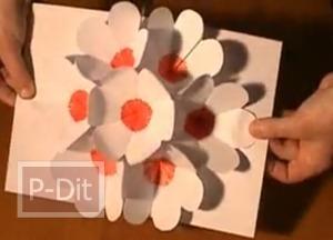 วิธีทำการ์ด pop-up แบบดอกไม้