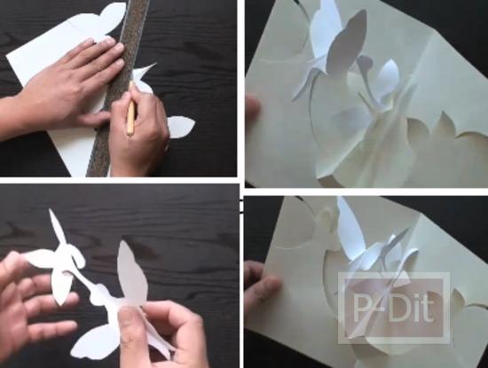 รูป 1 สอนทำการ์ดป็อบอัพ นกฮัมมิ่งเบิร์ด