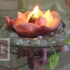 ตกแต่งโหลแก้ว ด้วยดอกไม้แห้งและเทียนไข