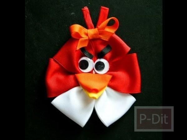 ทำโบว์ติดผม Angry Birds