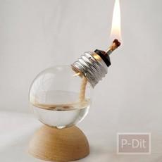นำหลอดไฟขาด มาใส่น้ำมันก๊าด จุดไฟ