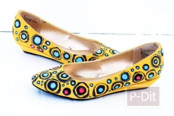 ตกแต่งรองเท้าสีเรียบ ให้เป็นรองเท้ามีลาย สดใส