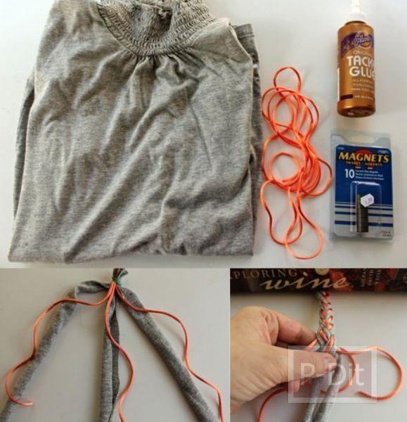 รูป 3 กำไลข้อมือสวยๆ ทำจากผ้า เสื้อยืดตัวเก่า