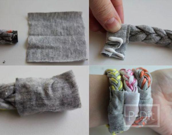 รูป 4 กำไลข้อมือสวยๆ ทำจากผ้า เสื้อยืดตัวเก่า