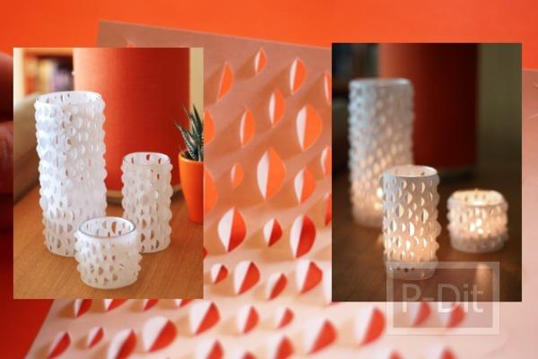 รูป 1 ตกแต่งแก้วเทียน โคมไฟ ด้วยกระดาษ