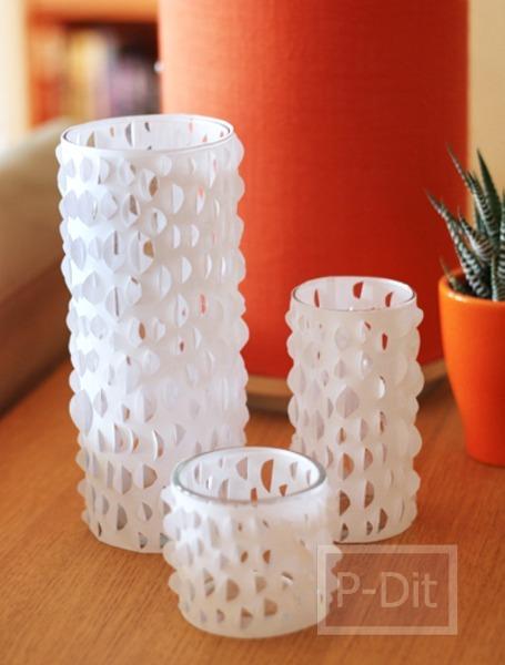รูป 2 ตกแต่งแก้วเทียน โคมไฟ ด้วยกระดาษ