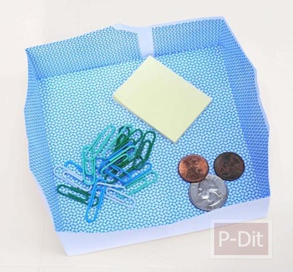 รูป 1 วิธีพับกล่องใส่เงินเหรียญ คลิปหนีบกระดาษ