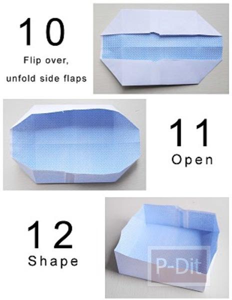 รูป 5 วิธีพับกล่องใส่เงินเหรียญ คลิปหนีบกระดาษ